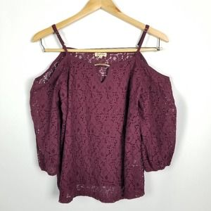 Lily White Maroon Off Shoulder Top W/ Gold Accents